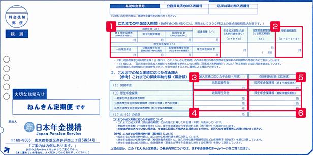 ねんきん定期便(50歳未満)表