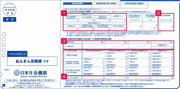 ねんきん定期便(50歳以上)表